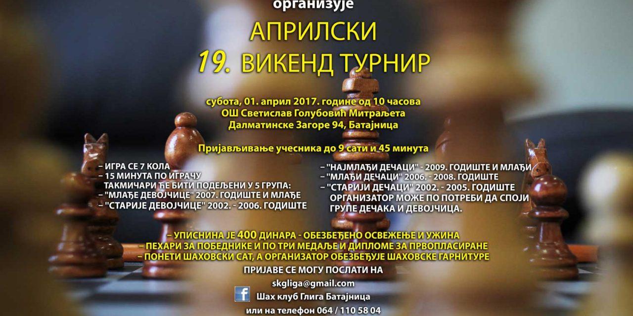 """Шах клуб """"ГЛИГА"""" организује АПРИЛСКИ 19. викенд турнир"""