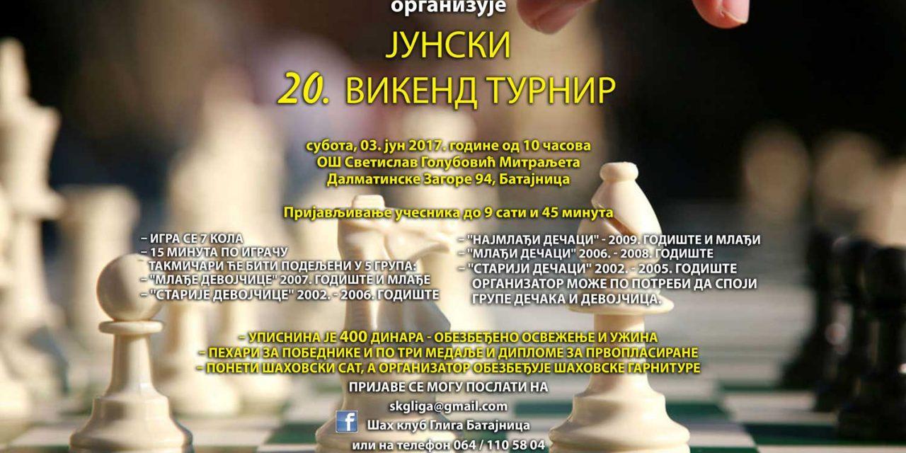 """Шах клуб """"ГЛИГА"""" организује ЈУНСКИ 20. викенд турнир"""